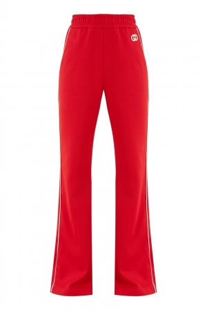 Красные брюки из джерси Gucci. Цвет: красный