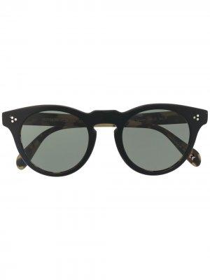 Солнцезащитные очки в круглой оправе черепаховой расцветки Oliver Peoples. Цвет: черный