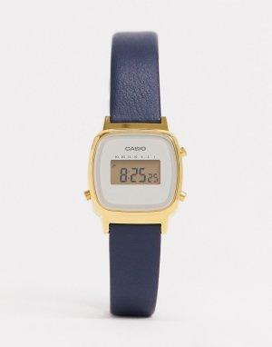 Цифровые часы с темно-синим кожаным ремешком -Черный Casio