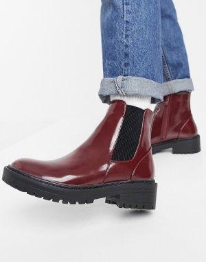 Бордовые ботинки челси на плоской подошве RAID Palma-Красный
