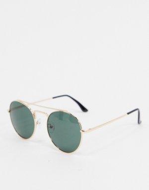 Солнцезащитные очки в стиле авиатор золотистой оправе -Золотистый AJ Morgan