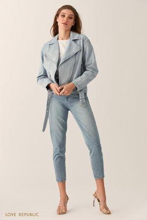 Джинсовая куртка-косуха голубого цвета LOVE REPUBLIC