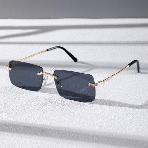 Мужские солнцезащитные очки без оправы SHEIN. Цвет: серый
