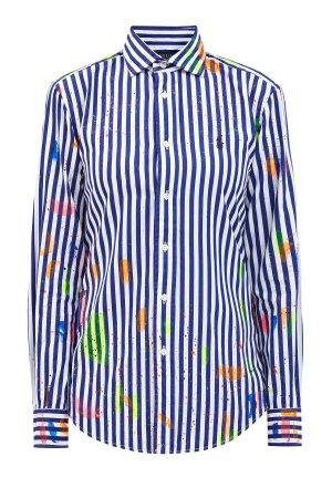Рубашка из хлопка с нанесенным вручную фактурным принтом POLO RALPH LAUREN. Цвет: синий
