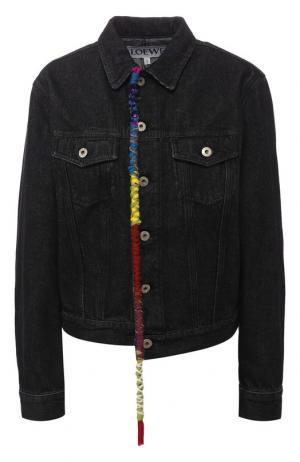 Джинсовая куртка с декоративной отделкой Loewe. Цвет: черный