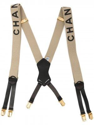 Подтяжки 1990-х годов с логотипом Chanel Pre-Owned. Цвет: нейтральные цвета