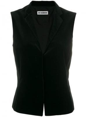 Бархатистый жилет Jil Sander Vintage. Цвет: черный
