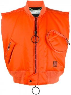 Укороченный жилет с логотипом Off-White. Цвет: оранжевый