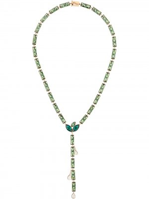 Колье Kette Bamboo из коллаборации с Susan Rockefeller Atelier Swarovski. Цвет: зеленый