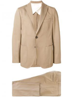 Костюм с однобортным пиджаком узкого кроя Doppiaa. Цвет: коричневый