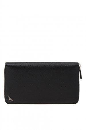 Черный кошелек на молнии Prada. Цвет: черный