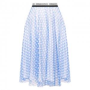 Хлопковая юбка Ermanno Scervino. Цвет: синий