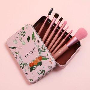 7шт Кисть для макияжа с Коробка SHEIN. Цвет: розовые