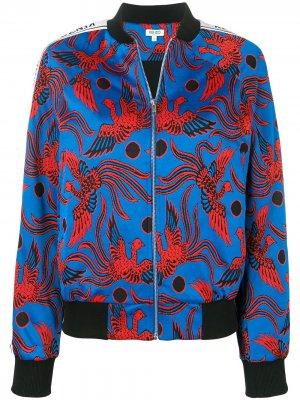 Куртка-бомбер с узором Kenzo. Цвет: синий