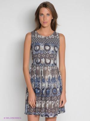 Платье DRS Deerose. Цвет: бежевый, серо-голубой