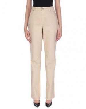 Джинсовые брюки ANGELO MARANI. Цвет: бежевый