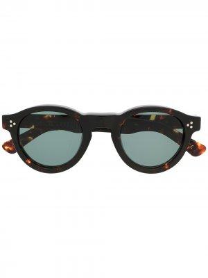 Солнцезащитные очки Gaston в круглой оправе Lesca. Цвет: коричневый