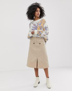 Саржевая юбка миди с декоративными клапанами -Бежевый ASOS WHITE