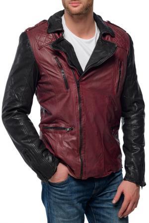 Кожаная куртка TIGHA. Цвет: бордовый