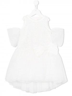 Платье с тюлем и вышивкой Loredana. Цвет: белый