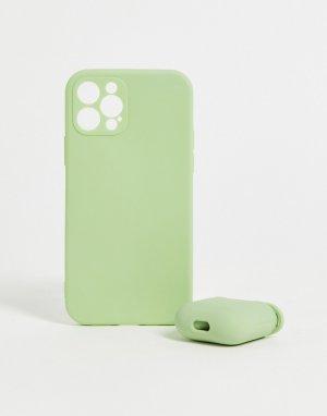 Комплект из чехла для iPhone 12 и футляра наушников-Розовый цвет Madein.