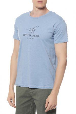 Футболка HENRY COTTONS COTTON'S. Цвет: голубой