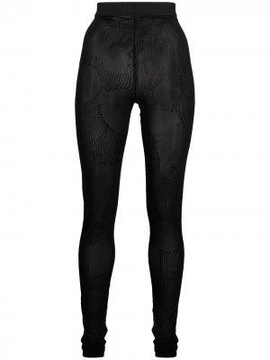 Flock print mesh leggings Diesel. Цвет: черный