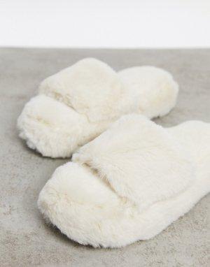 Пушистые слиперы-шлепанцы кремового цвета -Белый New Look