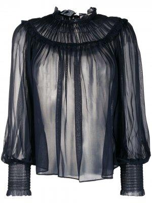 Блузка с оборками Ulla Johnson. Цвет: синий