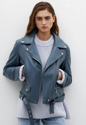Куртка кожаная Lime. Цвет: синий
