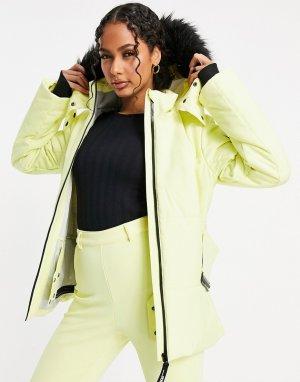 Горнолыжная куртка с отделкой искусственным мехом на капюшоне и поясом -Желтый ASOS 4505