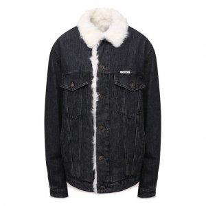 Джинсовая куртка с подкладкой из овчины Forte Dei Marmi Couture. Цвет: серый