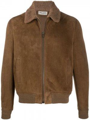 Куртка на молнии с косым воротником Saint Laurent. Цвет: коричневый