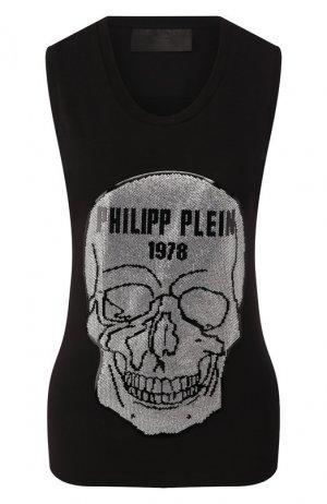 Хлопковая майка Philipp Plein. Цвет: чёрный