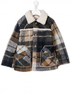 Пальто с воротником из овечьего меха Douuod Kids. Цвет: синий