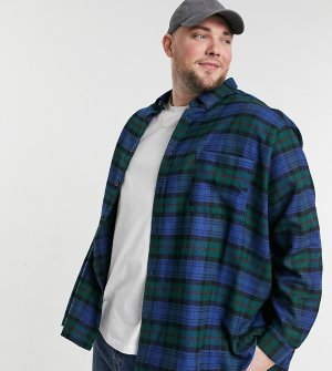 Рубашка в стиле super oversized клетку тартан Plus-Зеленый цвет ASOS DESIGN