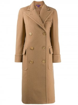 Классическое двубортное пальто Ralph Lauren Collection. Цвет: коричневый