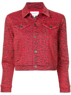 Джинсовая куртка с леопардовым принтом Current/Elliott. Цвет: красный