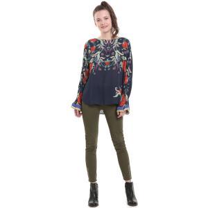 Блузка с круглым вырезом, цветочным рисунком DESIGUAL. Цвет: темно-синий/рисунок