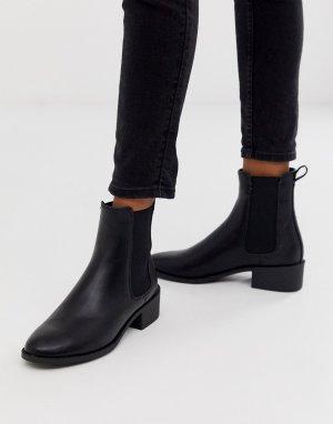Черные ботинки челси на плоской подошве -Черный New Look