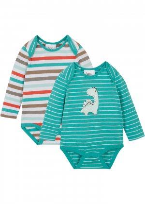Боди для малыша (2 шт.) bonprix. Цвет: зеленый