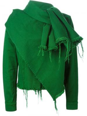 Джинсовая куртка с необработанными краями Marques Almeida. Цвет: зелёный
