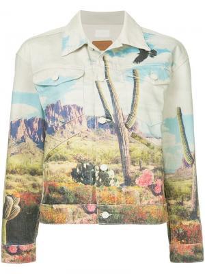 Джинсовая куртка с принтом Mother. Цвет: белый