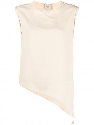 Блузка асимметричного кроя без рукавов Alysi. Цвет: нейтральные цвета