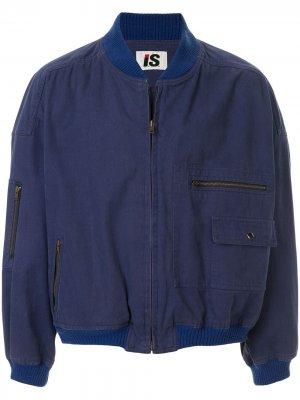 Бомбер Sports Line 1980-х годов с логотипом Issey Miyake Pre-Owned. Цвет: синий