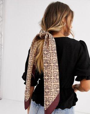 Большой квадратный коричневый платок ASOS DESIGN