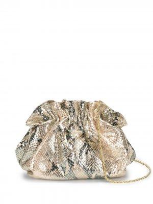 Клатч со змеиным принтом и эффектом металлик Loeffler Randall. Цвет: розовый