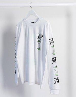Свободная футболка с принтом -Белый ASOS DESIGN