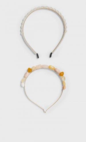 Набор Из 2 Ободков С Искусственными Камнями Женская Коллекция Цвет Небеленого Полотна 103 Stradivarius. Цвет: цвет небеленого полотна