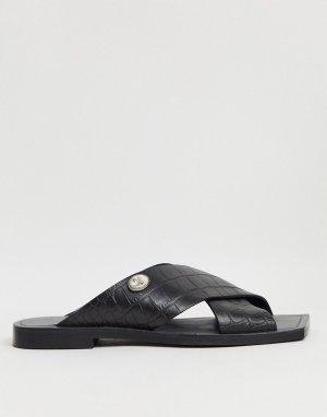 Черные кожаные мюли с квадратным носом и пряжками BRONX-Черный цвет Bronx